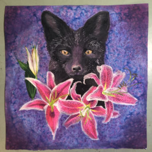 fox with stargzaer lilies