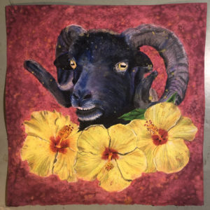 Hebridean Ram with Hibiscus