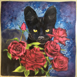 Serval with Roses